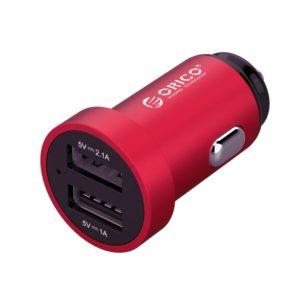 Orico Dual Port Mini USB Car Charger - Red